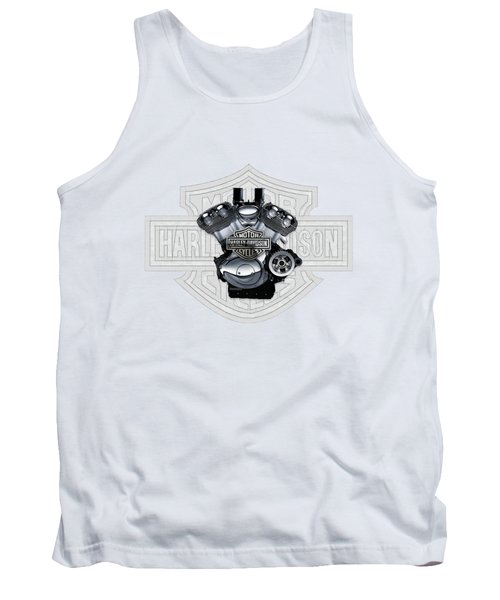 Tank Top featuring the digital art 2002 Harley-davidson Revolution Engine With 3d Badge  by Serge Averbukh