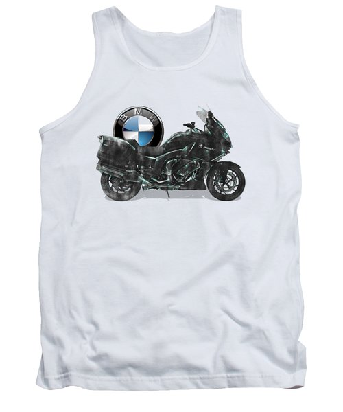 Tank Top featuring the digital art 2016 Bmw-k1600gt Motorcycle With 3d Badge Over Vintage Blueprint  by Serge Averbukh