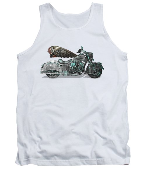 Tank Top featuring the digital art 2017 Indian Chief Classic Motorcycle With 3d Badge Over Vintage Blueprint  by Serge Averbukh
