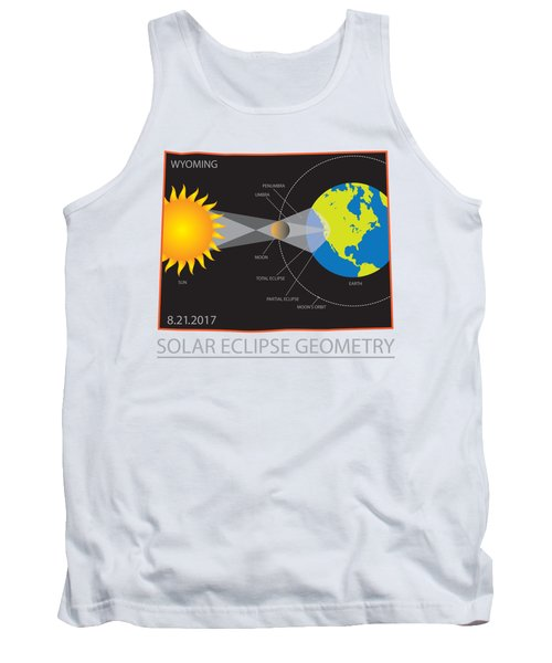 2017 Solar Eclipse Geometry Wyoming State Map Illustration Tank Top
