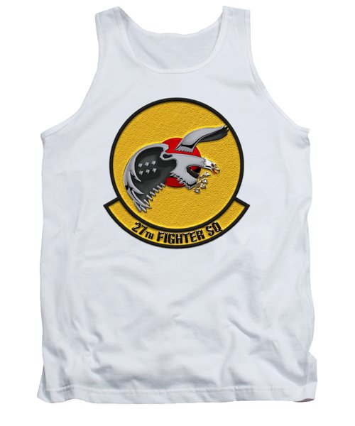 Tank Top featuring the digital art 27th Fighter Squadron - 27 Fs Patch Over White Leather by Serge Averbukh