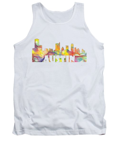 Austin Texas Skyline Tank Top by Marlene Watson