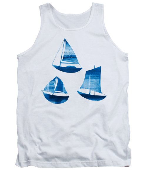 Tank Top featuring the painting 3 Little Blue Sailing Boats by Frank Tschakert