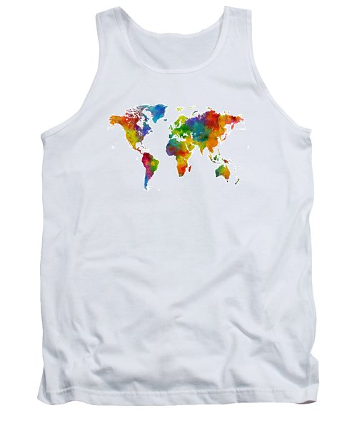 Map Of The World Map Watercolor Tank Top by Michael Tompsett