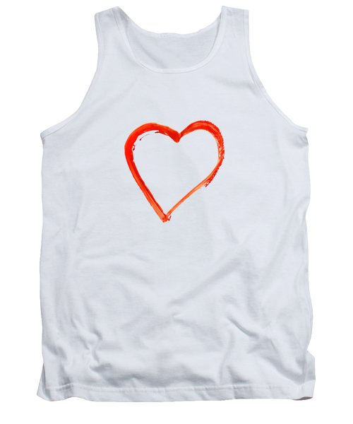 Tank Top featuring the drawing Painted Heart - Symbol Of Love by Michal Boubin