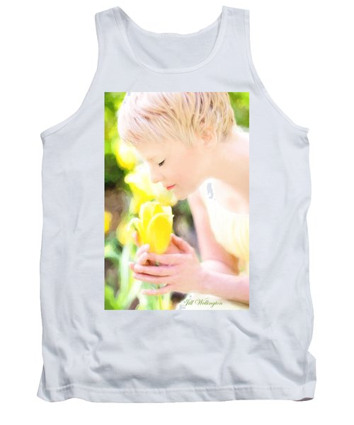 Tank Top featuring the digital art Vintage Val Spring Tulips by Jill Wellington