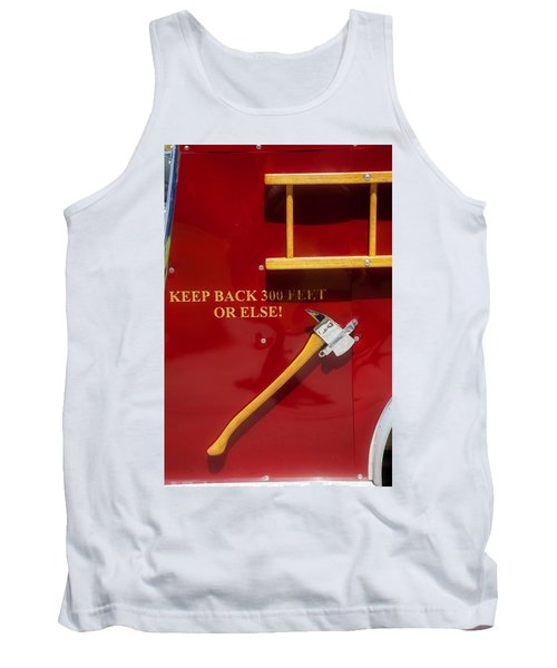 Tank Top featuring the photograph Fire Truck Caution by Toni Hopper