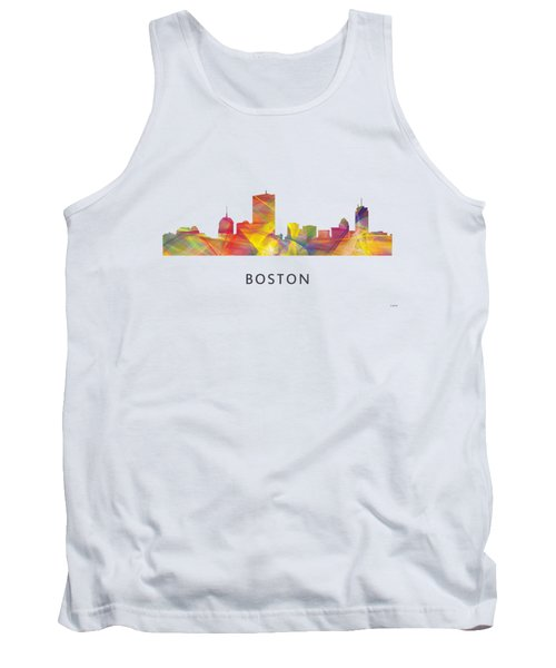 Boston Massachusetts Skyline Tank Top by Marlene Watson