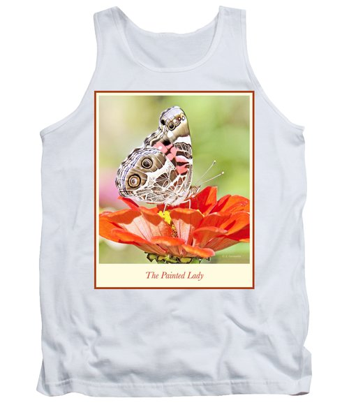 Painted Lady Butterfly On Zinnia Flower Tank Top