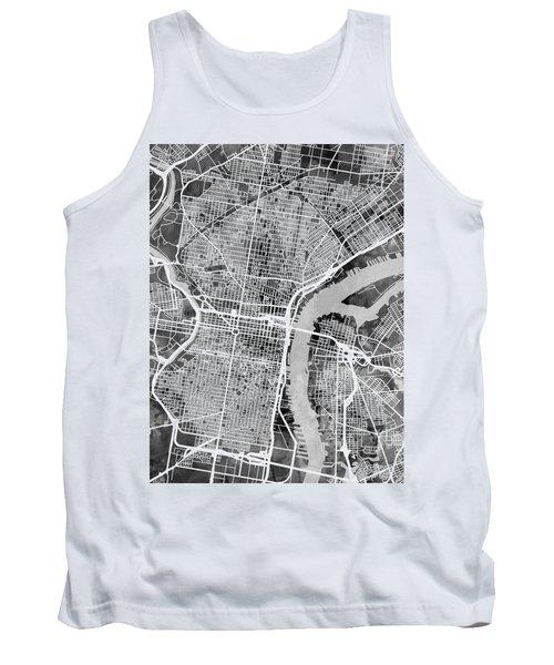Philadelphia Pennsylvania Street Map Tank Top