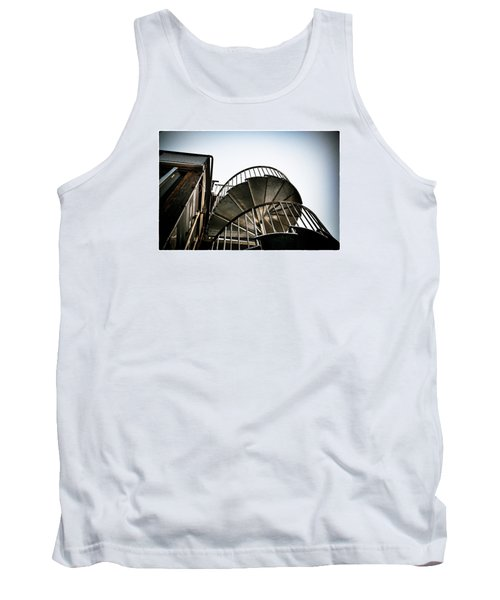 Tank Top featuring the photograph Pop Brixton - Spiral Staircase - Industrial Style by Lenny Carter