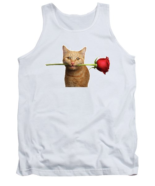 Portrait Of Ginger Cat Brought Rose As A Gift Tank Top