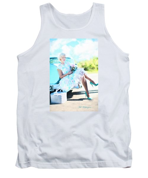 Vintage Val In The Turquoise Vintage Car Tank Top by Jill Wellington