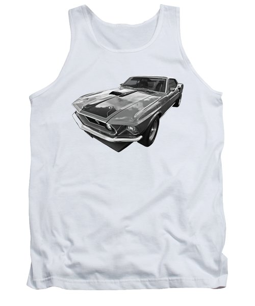 428 Cobra Jet Mach1 Ford Mustang 1969 In Black And White Tank Top