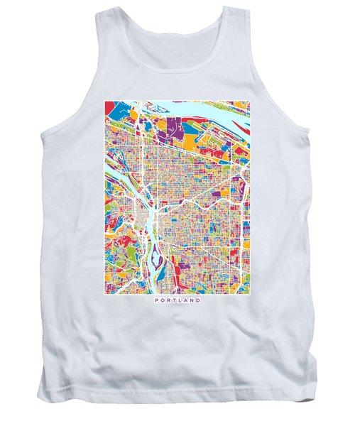 Portland Oregon City Map Tank Top