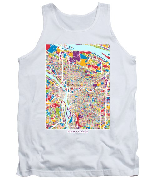 Portland Oregon City Map Tank Top