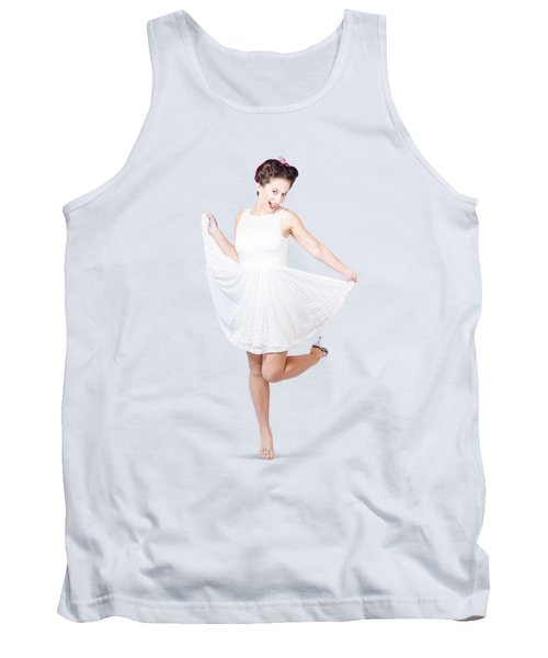 50s Pinup Woman In White Dress Dancing Tank Top by Jorgo Photography - Wall Art Gallery
