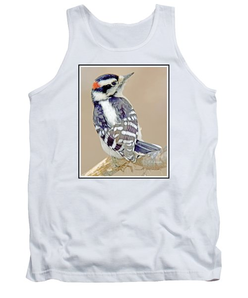 Tank Top featuring the photograph Downy Woodpecker Male On Tree Limb by A Gurmankin
