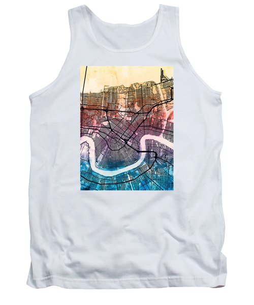New Orleans Street Map Tank Top by Michael Tompsett