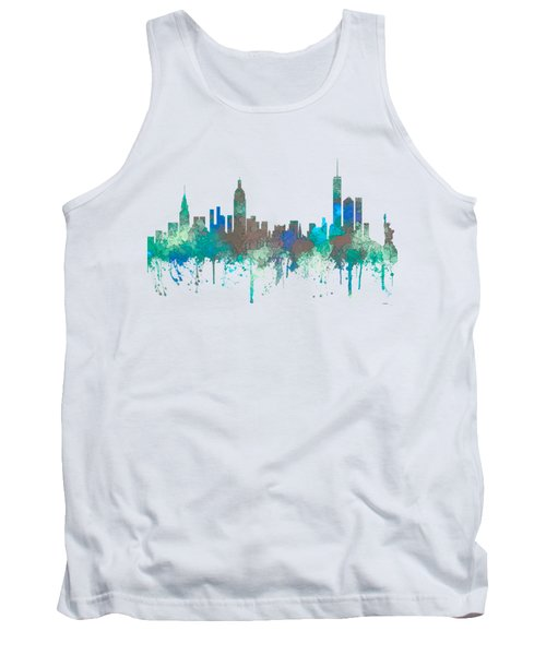 Tank Top featuring the digital art New York Ny Skyline by Marlene Watson