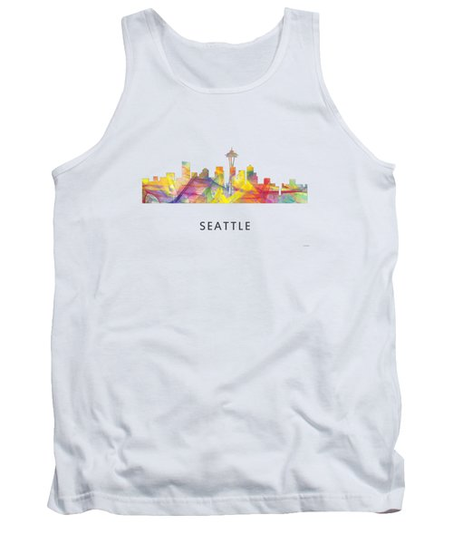 Seattle Washington Skyline Tank Top by Marlene Watson