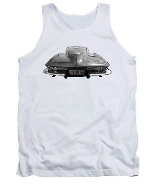Tank Top featuring the photograph 66 Corvette Rear Black And White by Gill Billington