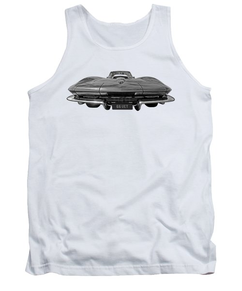 66 Vette Stingray In Black And White Tank Top