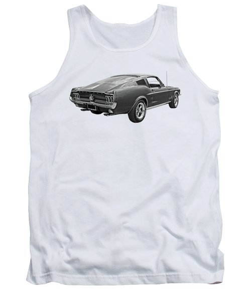 67 Fastback Mustang In Black And White Tank Top