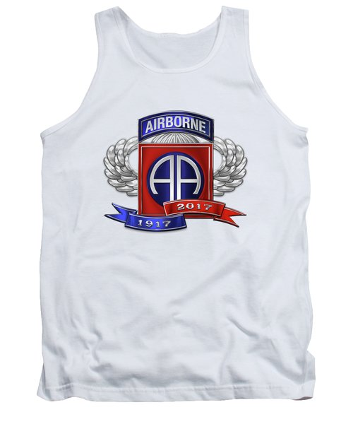 Tank Top featuring the digital art 82nd Airborne Division 100th Anniversary Insignia Over White Leather by Serge Averbukh