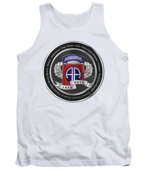 Tank Top featuring the digital art 82nd Airborne Division 100th Anniversary Medallion Over White Leather by Serge Averbukh