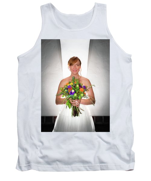 A Beautiful Backlit Bride And Her Bouquet Tank Top