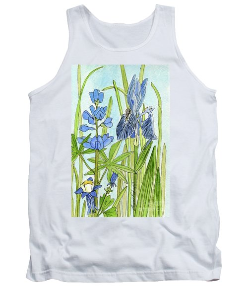 Tank Top featuring the painting A Blue Garden by Laurie Rohner