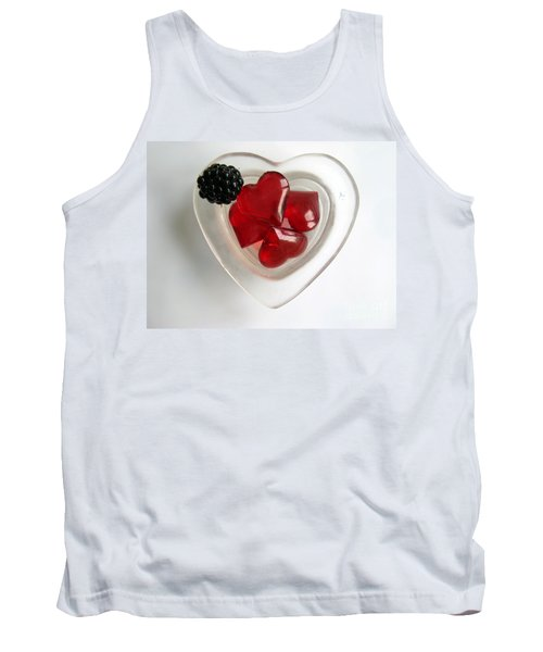 Tank Top featuring the photograph A Bowl Of Hearts And A Blackberry by Ausra Huntington nee Paulauskaite
