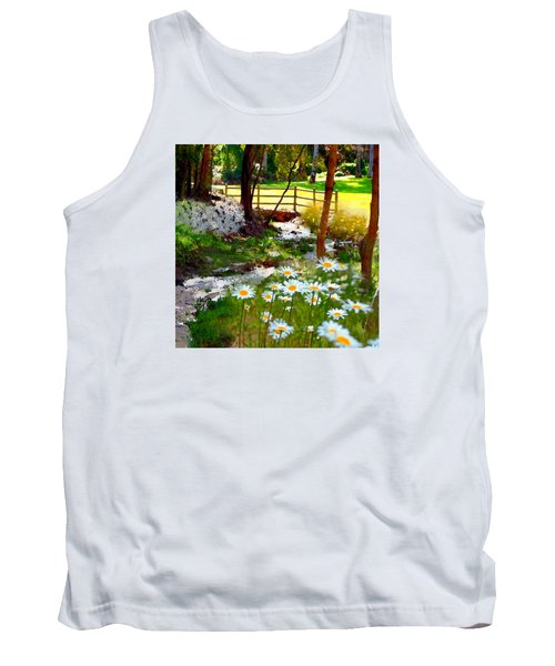 A Country Stream With Wild Daisies Tank Top