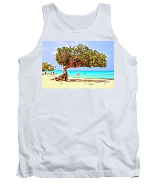 Tank Top featuring the photograph A Day At Eagle Beach by DJ Florek