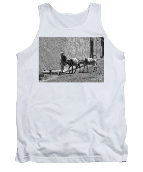 A Man With Two Burros Tank Top