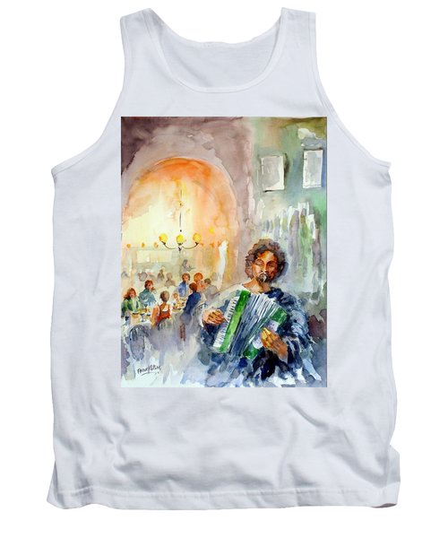Tank Top featuring the painting A Night At The Tavern by Faruk Koksal