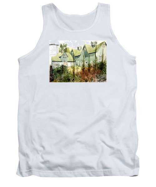 An Old Wooden Barn Painted Green With Silo In The Sun Tank Top