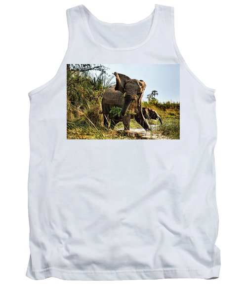A Protective Mama Elephant With Calf  Tank Top