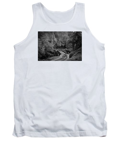 A Wet And Twisty Road Through The Blue Ridge Mountains In Black And White Tank Top
