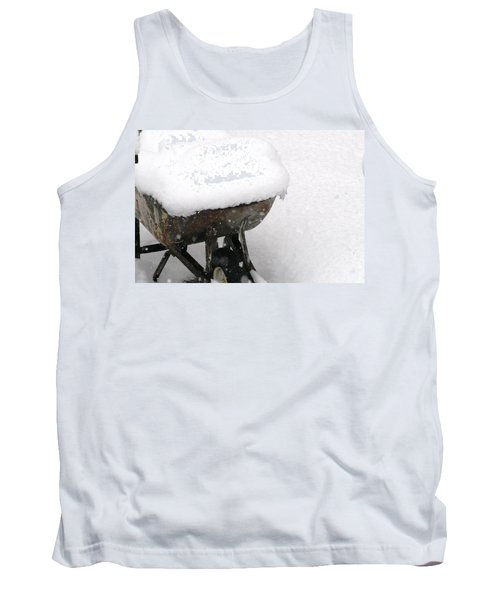 Tank Top featuring the photograph A Wheel Barrel Of Snow by Paul SEQUENCE Ferguson             sequence dot net