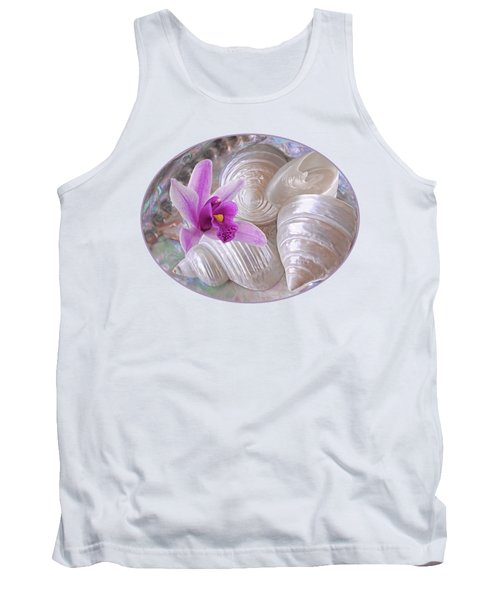 Abalone With Pearl Shells And Purple Orchid Tank Top