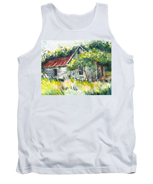Abandoned Farmhouse In The Ozark Mountains On The Gravel Road To Hawk's Bill Crag At Whitaker Point Tank Top