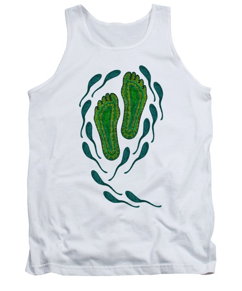 Aboriginal Footprints Green Transparent Background Tank Top by Barbara St Jean