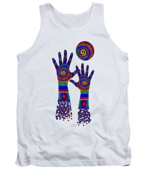 Aboriginal Hands Blue Transparent Background Tank Top