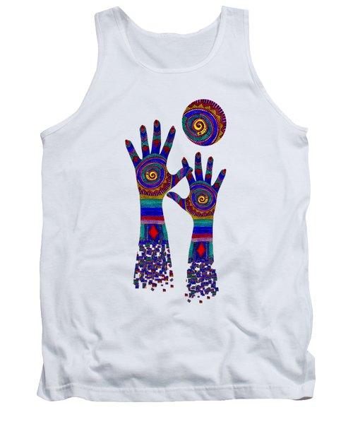 Aboriginal Hands Blue Transparent Background Tank Top