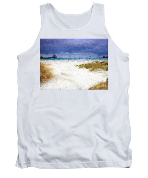 Tank Top featuring the digital art Abstract Beach Horizon by Anthony Fishburne
