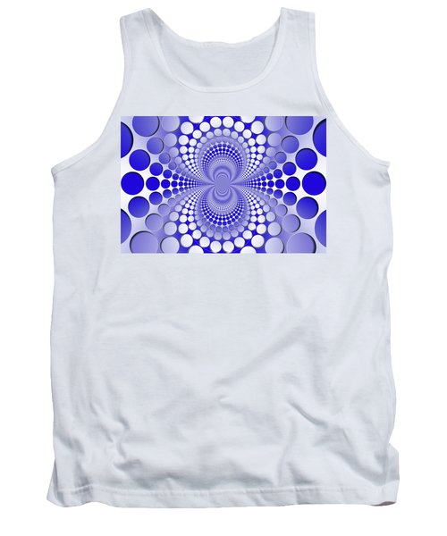 Abstract Blue And White Pattern Tank Top