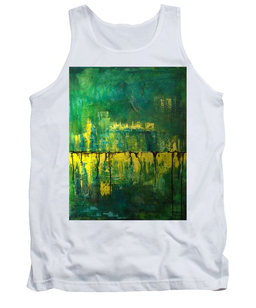 Abstract In Yellow And Green Tank Top by Jocelyn Friis