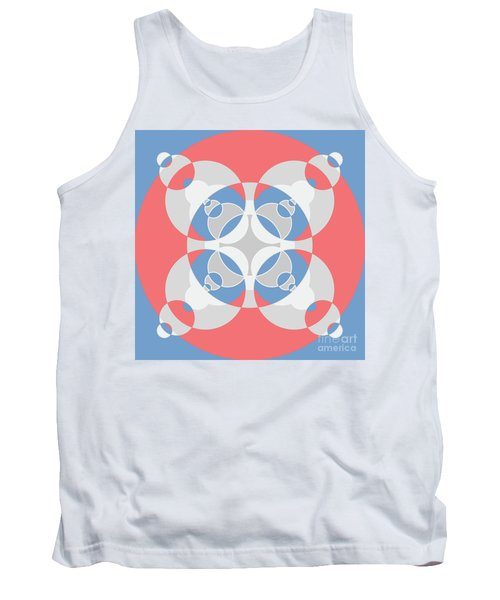 Abstract Mandala White, Pink And Blue Pattern For Home Decoration Tank Top